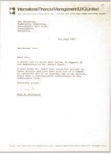 Letter from Mark H. McCormack to Sunningdale Golf Club