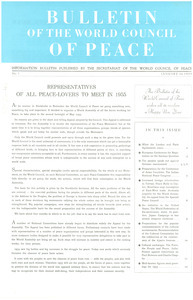 Bulletin of the World Council of Peace, number 1