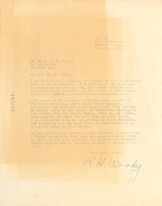 Letter from the R. H. Woody to W. E. B. Du Bois