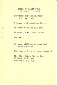 Advertisement for the fiftieth jubilee edition of the Souls of Black Folk
