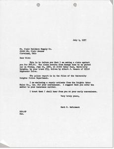 Letter from Mark H. McCormack to St. Clair Builders Supply Co.