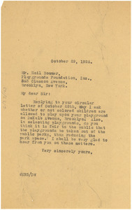 Letter from W. E. B. Du Bois to Emil Bommer Playgrounds Foundation