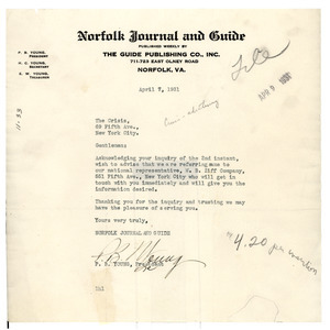 Letter from Norfolk Journal and Guide to the Crisis