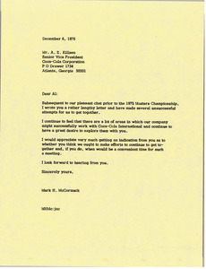 Letter from Mark H. McCormack to A. E. Killeen