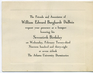 Invitation to W. E. B. Du Bois seventieth birthday banquet