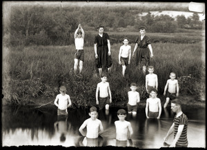 Boys swimming in a pond (Greenwich, Mass.)
