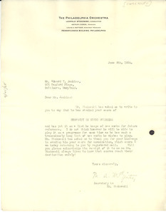 Letter from The Philadelphia Orchestra to Edward T. Jenkins
