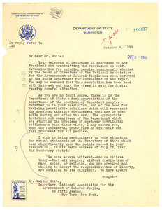 Letter from United States Department of State to Walter White