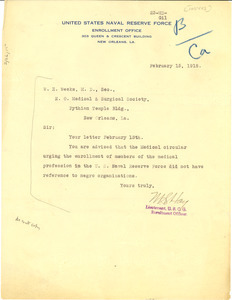 Letter from United States Naval Reserve Force to W. E. Weeks
