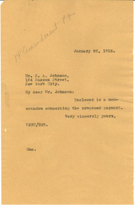 Letter from W. E. B. Du Bois to Edward A. Johnson