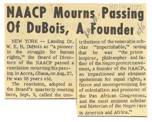 N.A.A.C.P. mourns passing of Du Bois, a founder