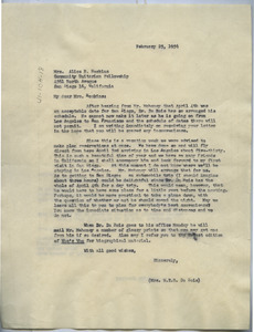Letter from Mrs. W. E. B. Du Bois to Community Unitarian Fellowship