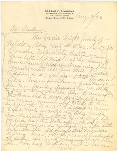 Letter from Caesar F. Simmons to W. E. B. Du Bois