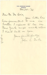 Letter from John L. Dube to W. E. B. Du Bois