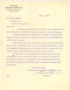 Letter from Emil Bommer Playgrounds Foundation to W. E. B. Du Bois