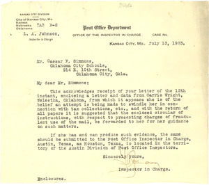 Letter from Post Office Department Office of the Inspector in Charge to Caesar F. Simmons