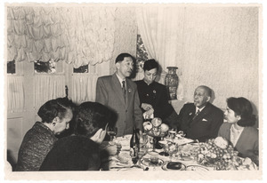 Mao Dun speaking at dinner table in Tashkent
