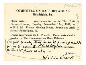 Letter from Waldo Frank to Committee on Race Relations