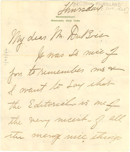 Letter from Mrs. John E. Milholland to W. E. B. Du Bois