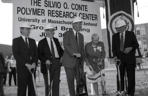 Ceremonial groundbreaking for the Conte Center: Gov. William Weld and Corrine Conte (both at center) preparing for ceremonial first shovel