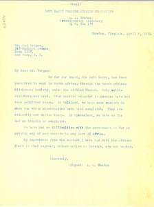 Letter from A. A. Graham to Max Yergan