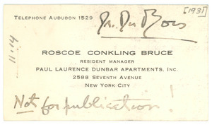 Business card of Roscoe Conkling Bruce