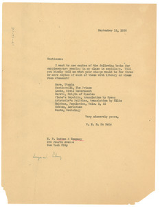 Letter from W. E. B. Du Bois to E. P. Dutton