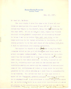 Letter from E. H. Clement to W. E. B. Du Bois