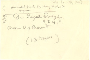 Notes for letter to Bayard Dodge