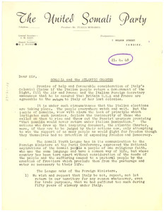 Circular letter from United Somali Party to W. E. B. Du Bois
