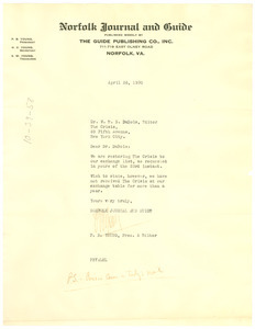 Letter from P. B. Young to W. E. B. Du Bois