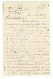 Letter from unidentified correspondent to the Crisis