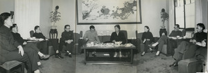 Shirley Graham Du Bois sitting with eight unidentified Chinese officials