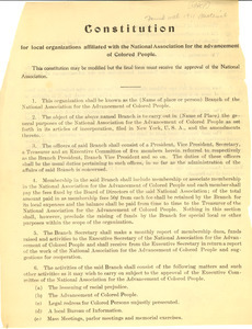 Constitution for local organizations affiliated with the National Association for the Advancement of Colored People