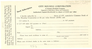 City Housing Corporation stock subscription