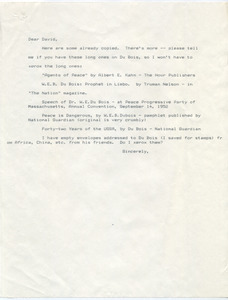 Letter from Lillian Katzman to David Levering Lewis