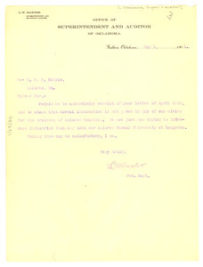 Letter from Oklahoma Office of Superintendent to W. E. B. Du Bois