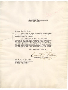 Letter from Edward C. Williams to W. E. B. Du Bois