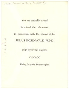 Invitation from American Council on Race Relations to W. E. B. Du Bois