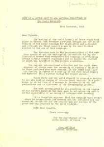 Copy of Letter sent to all national committees of the Peace Movement