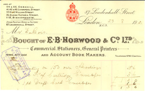Bought of E. B. Horwood and Co. Ltd.