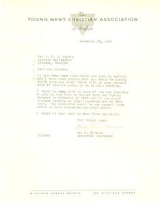 Letter from Young Men's Christian Association of Buffalo to W. E. B. Du Bois