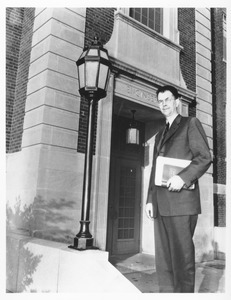 George A. Marston in front of the Engineering building