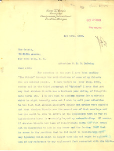 Letter from George W. Sample to W. E. B. Du Bois