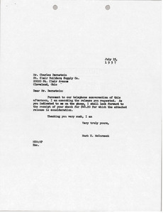 Letter from Mark H. McCormack to St. Clair Building Supply Company