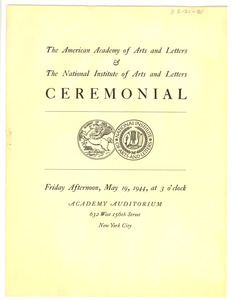 American Academy of Arts and Letters Ceremonial and Exhibition program