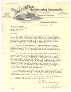 Letter from Madame C. J. Walker Manufacturing Company, Inc. to W. E. B. Du Bois
