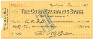 Check from W. E. B. Du Bois to A. G. Dill