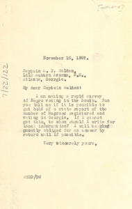 Letter from W. E. B. Du Bois to Captain A. T. Walden