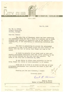 Letter from City Club of Cleveland to W. E. B. Du Bois